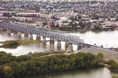 Строительство моста через реку Обь на 605км в городе Камень-на-Оби Западно-Сибирской железной дороги