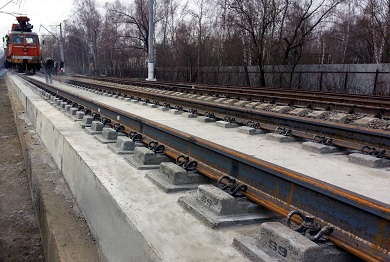 Устройство безбалластной конструкции пути на участке 2-го кольцевого пути экспериментального кольца ВНИИЖТ на ст. Щербинка. Участки LVT, Alstom, Tines, Max Bögl
